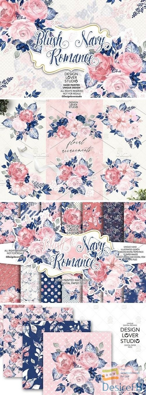 Blush and Navy Romance design pack - 2776752