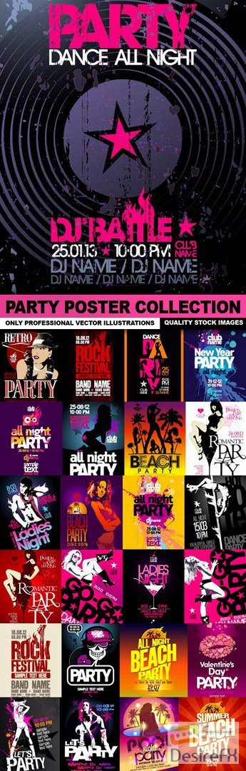 stock-vectors - Party Poster Collection - 25 Vector