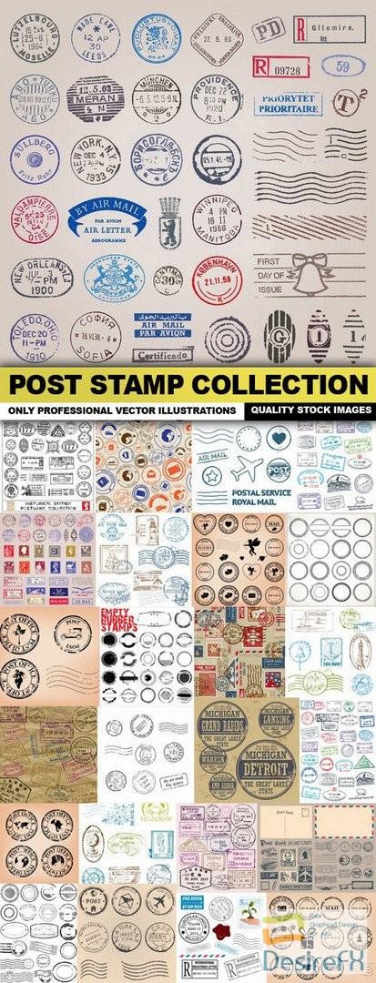 Post Stamp Collection - 25 Vector