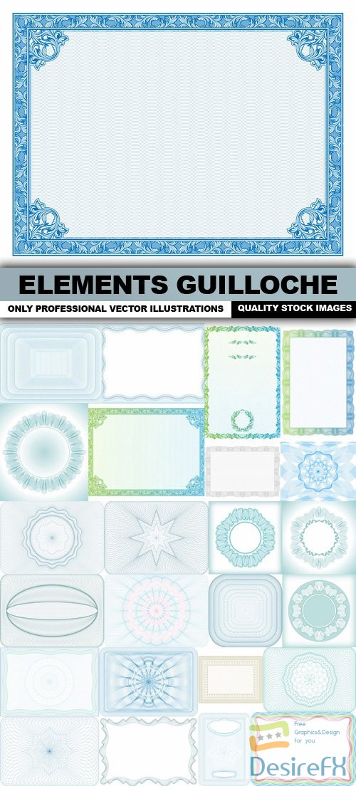 Elements Guilloche - 25 Vector