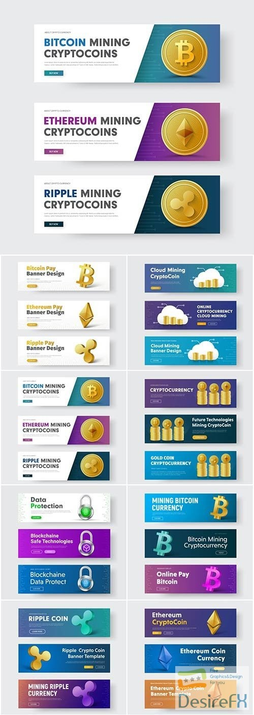 Gold coin crypto currency ripple, bitcoin and Ethereum, template of horizontal vector banners
