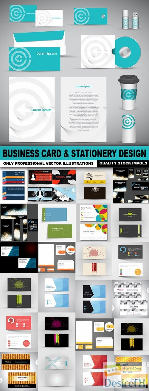 Business Card & Stationery Design Template - 25 Vector
