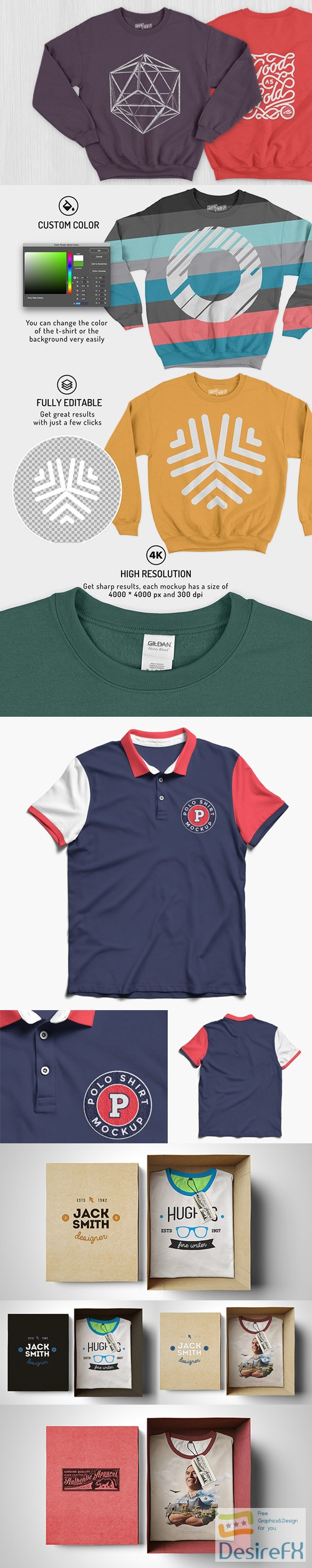 t-shirts-prints - 7 Shirt PSD Mockups Collection