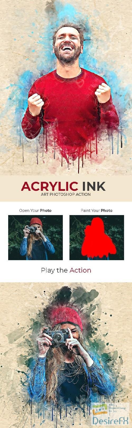 Acrylic Ink Art Photoshop Action 22336615