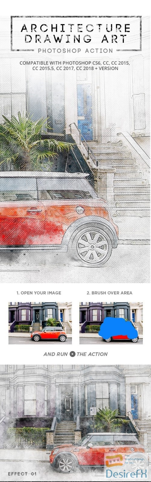 Architecture Drawing Art - Photoshop Action 22345479