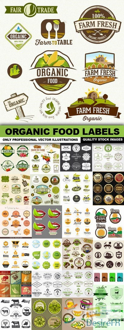 stock-vectors - Organic Food Labels - 25 Vector