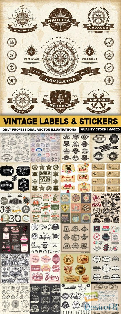 Vintage Labels & Stickers - 25 Vector