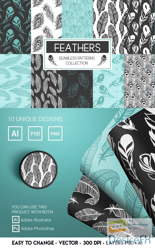 10 Feathers Seamless Patterns in Vector [Ai/PSD]