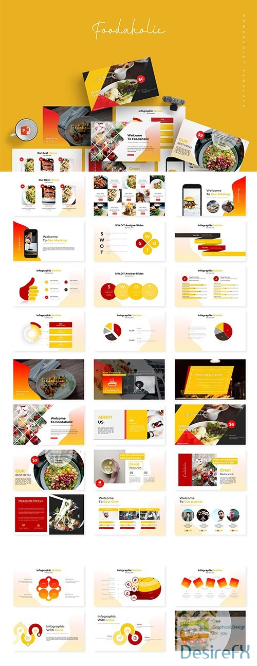 Foodaholic - Powerpoint, Keynote and Google Sliders Template