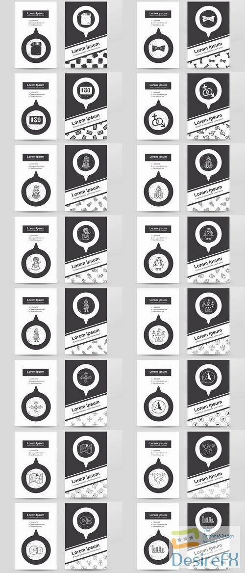 Black and white banner flyer business card icon 25 EPS