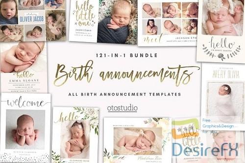 photoshop - BUNDLE 121-in-1 Birth Announcements 2885171