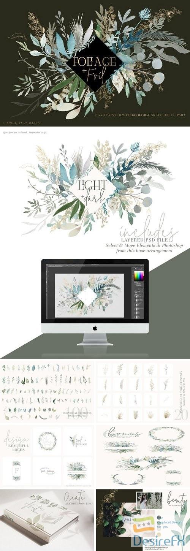 photoshop - Foliage + Foil - Botanical Clipart - 2923950