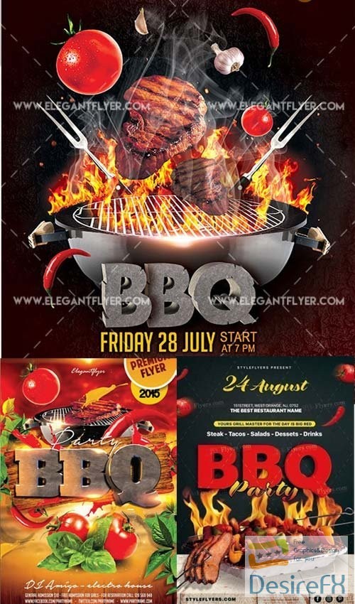 layered-psd - BBQ 3in1 V3 Flyer Template