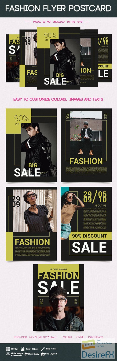 layered-psd - 5 Postcard Flyers Fashion Bundle in PSD