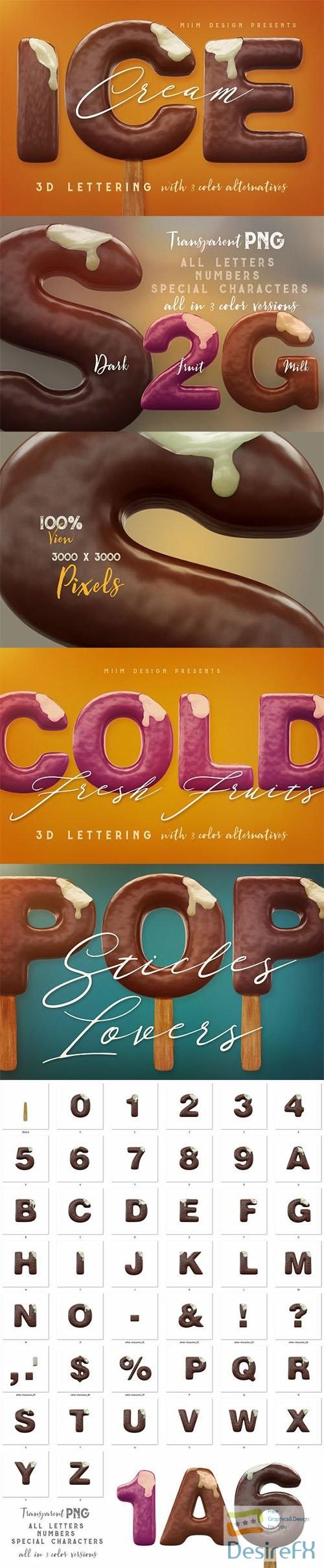 photoshop - Ice Cream - 3D Lettering 2749746