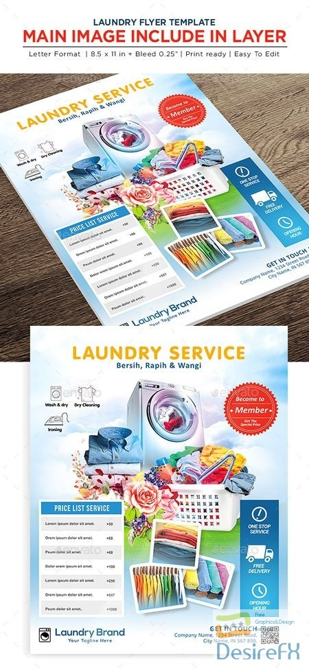 layered-psd - Laundry Services Flyer - Business Flyer 22541864