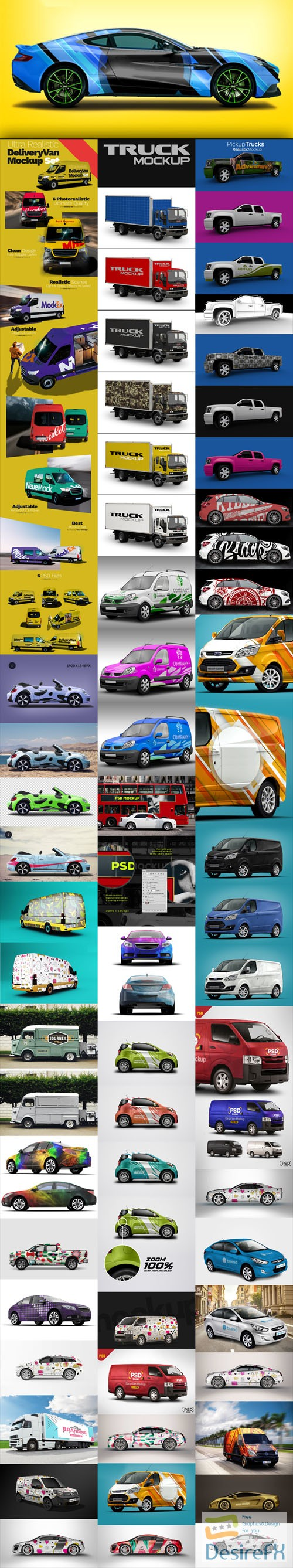 mock-up - Huge Pack of Realistic High Quality Cars & Vehicles PSD Mockups
