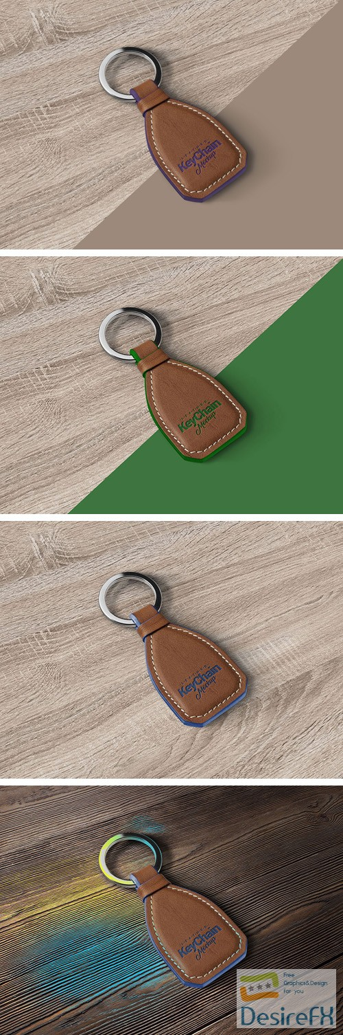 mock-up - Leather Keychain PSD Mockup
