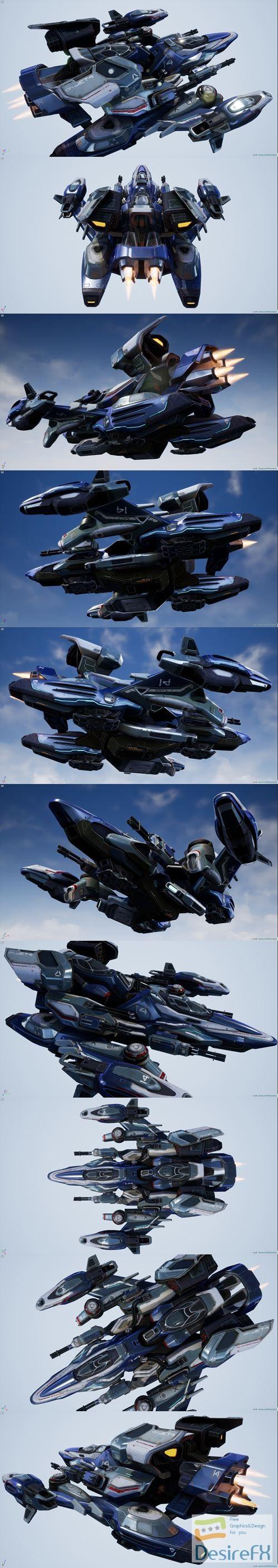 3d-models - Falcon Spaceship - game 3D Model
