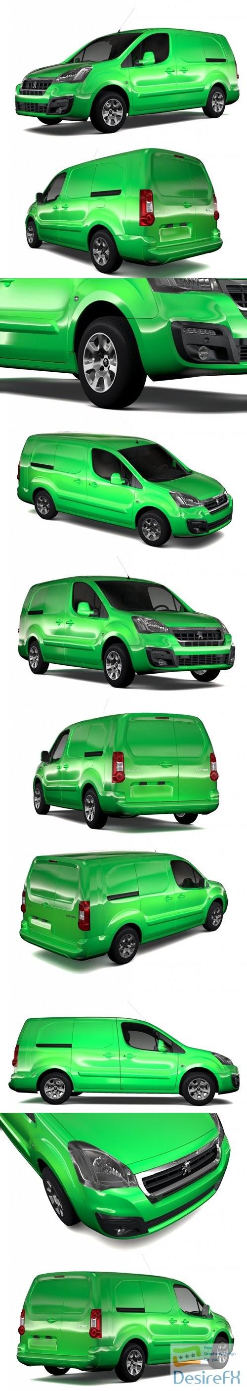 3d-models - Peugeot Partner Van L2 2slidedoors 2017 3D Model
