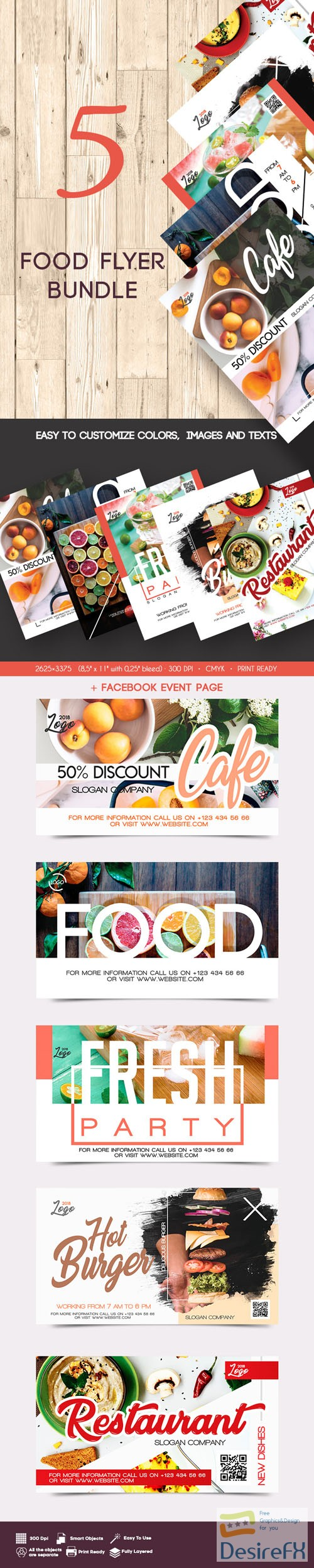layered-psd - 5 Food Flyer Bundle in PSD