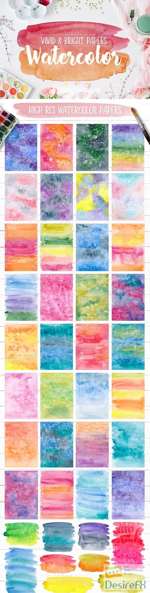 stock-images - Vivid & Bright Watercolor Textures - 3006263