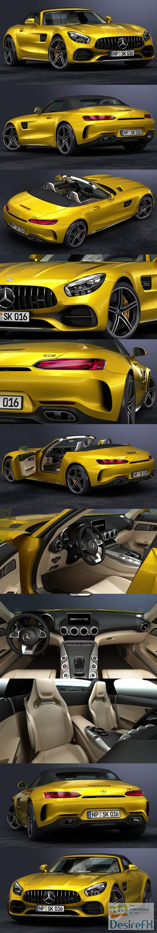 3d-models - Mercedes-Benz AMG GT-C Roadster 2017 3D Model