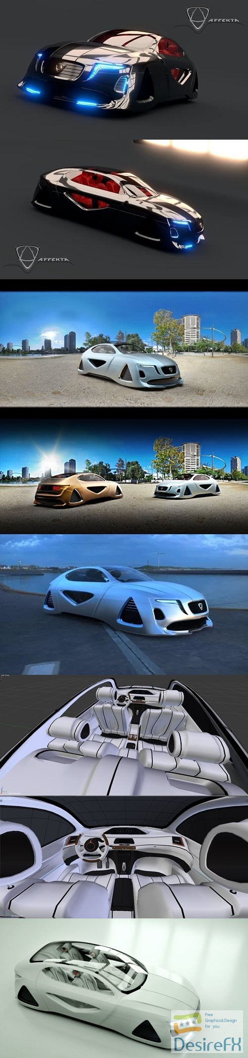 Affekta X-Fusion Sci-Fi concept car 3D Model