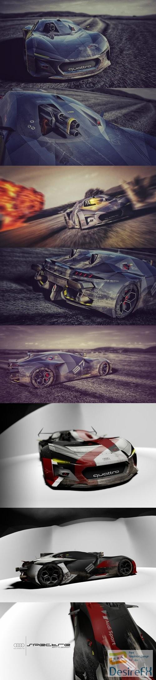 Audi Quattro Spectre BattleDrone Concept Car 3D Model