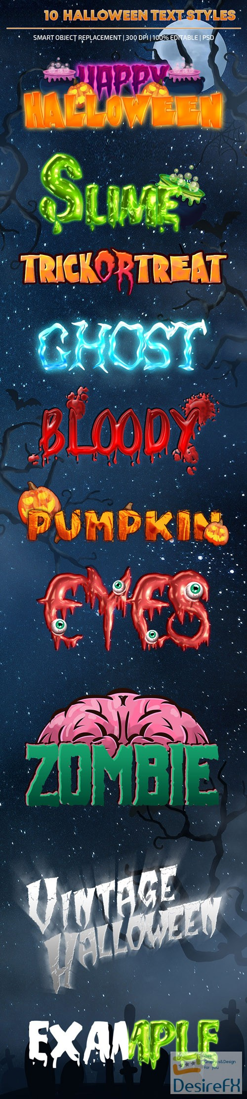photoshop - 10 Halloween Text Styles for Photoshop