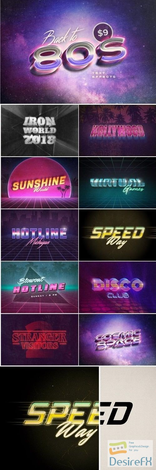 layered-psd - Back to the 80s Retro Text Effects - 2876313