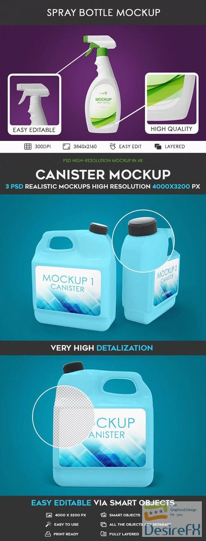 Spray Bottle & Canister PSD Mockups in 4k