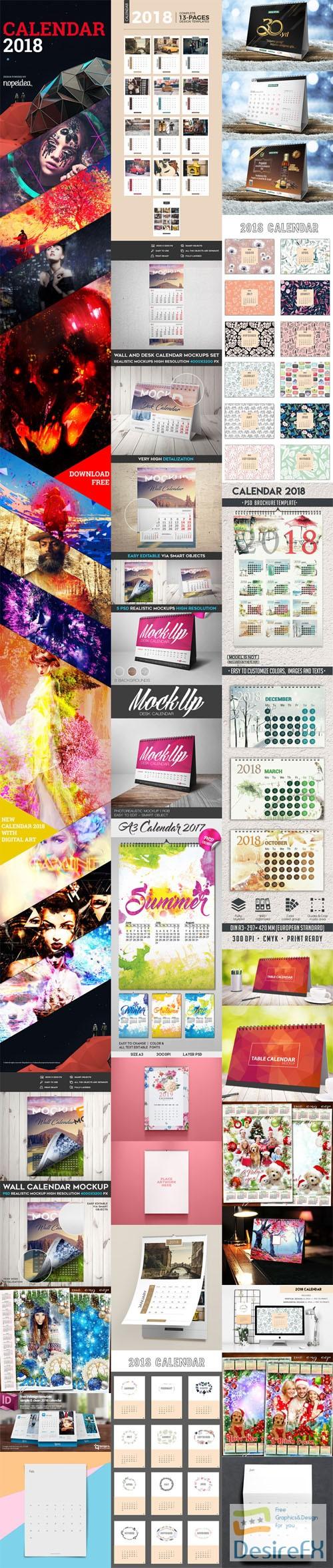 mock-up - Calendar Templates & Mockups Collection [PSD/Ai/Indd/PDF]
