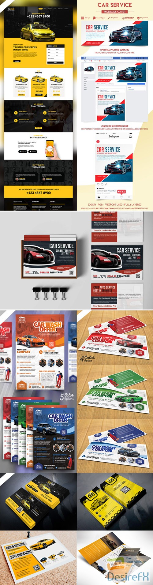 layered-psd - Collection of Cars Services PSD Templates