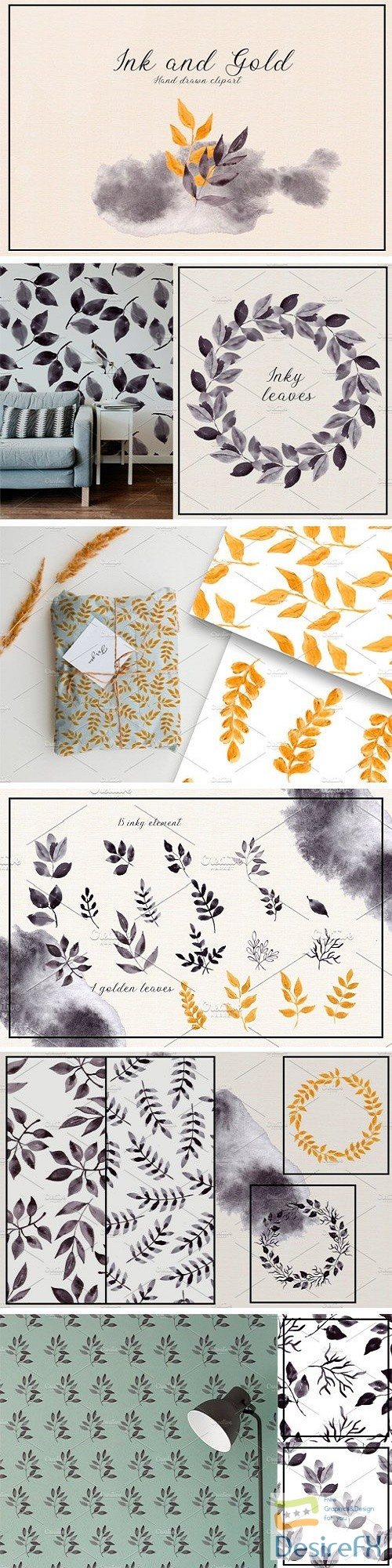 stock-images - Ink and Gold. Hand Drawn Clipart 2975792