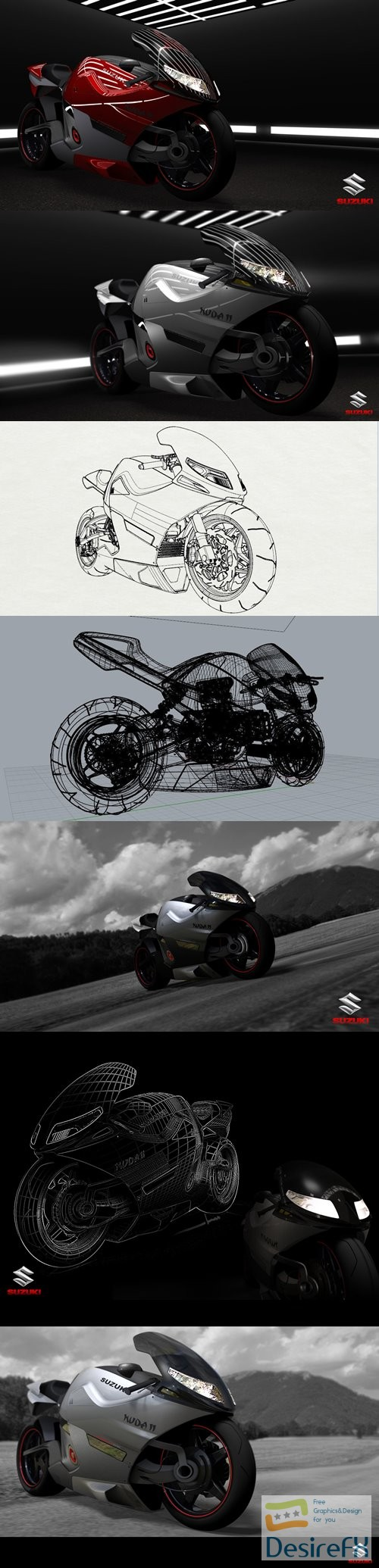 3d-models - Suzuki Nuda II concept bike 3D Model