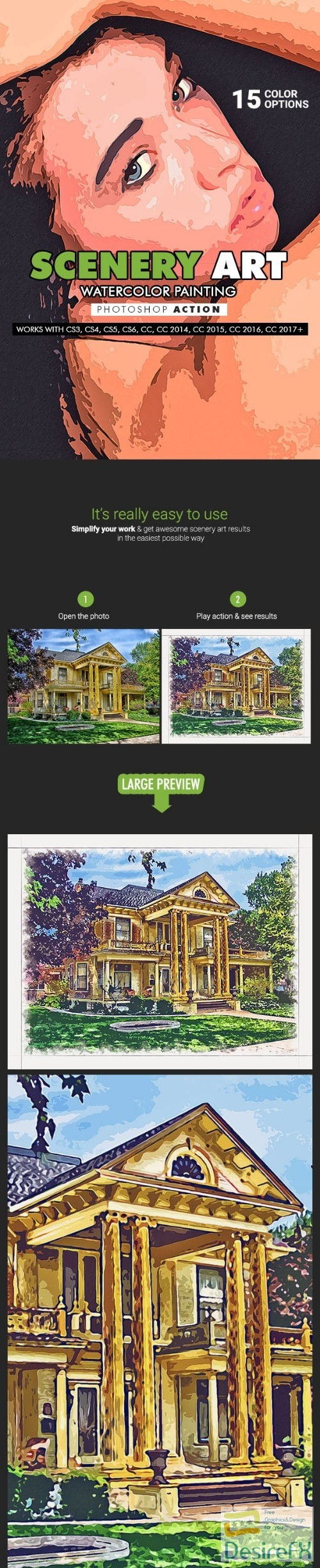 actions-atn - Scenery Art - Watercolor Painting Photoshop Action 19869916