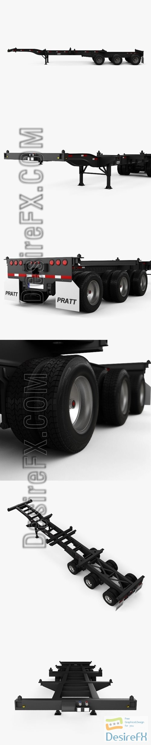 3d-models - Pratt Container Chassis 40ft Semi Trailer 2018 3D Model