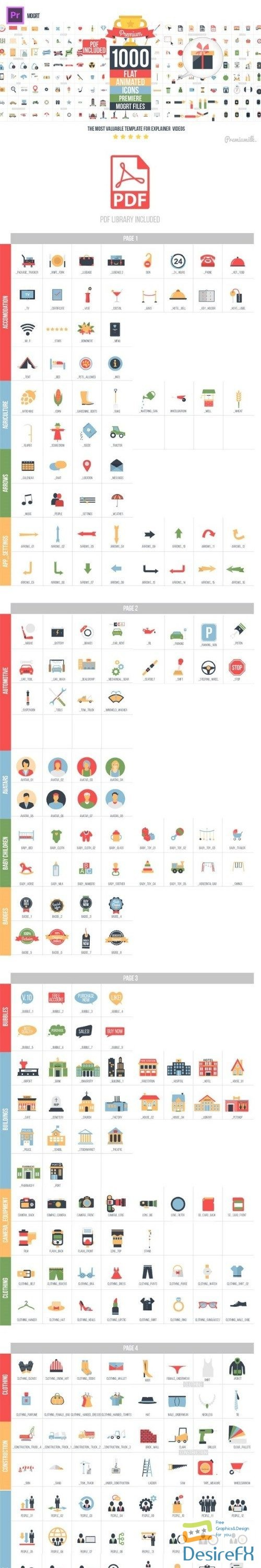 premiere-pro - Videohive Flat Animated Icons Library Essential Graphics | Mogrt 22003103