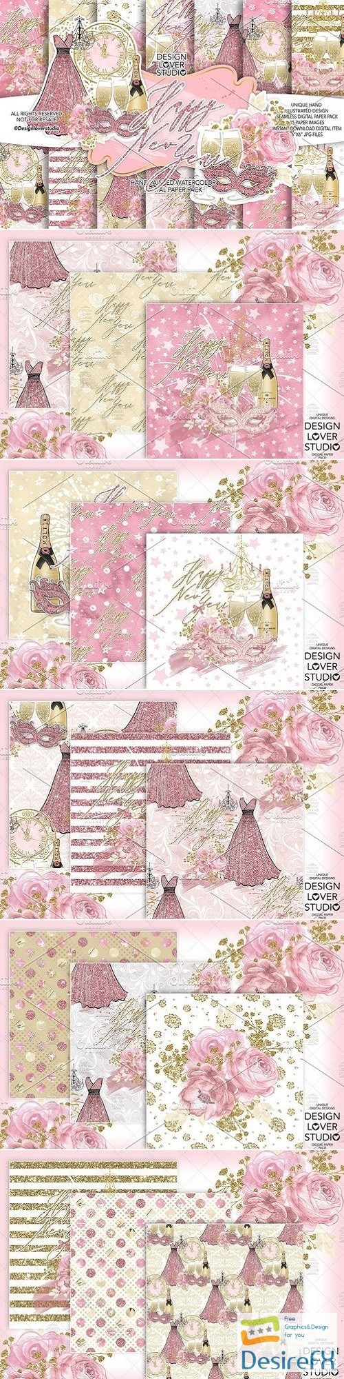stock-images - Happy New Year digital paper pack - 3100942