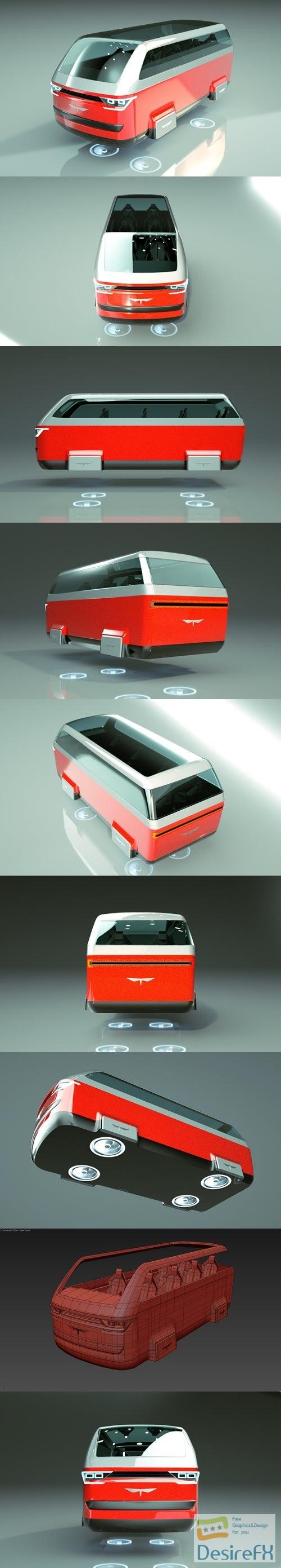 3d-models - Cheap & Cool T-Hover Minivan Car 19 3D Model