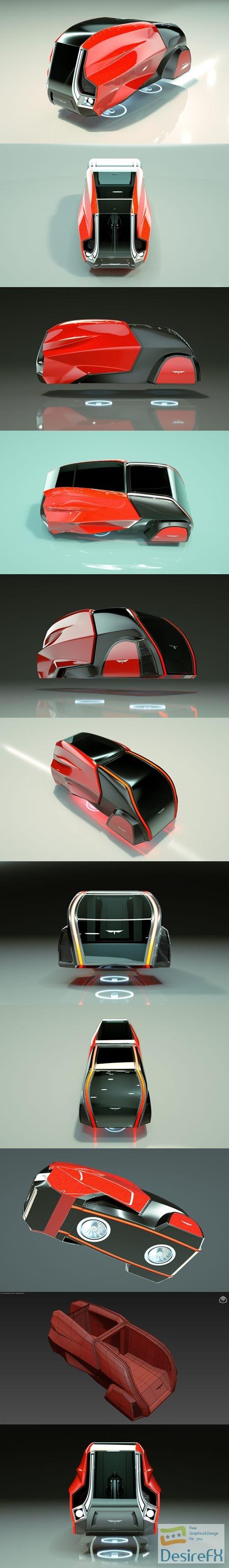 3d-models - Cheap & Cool T-Hover Minivan Car 18 3D Model