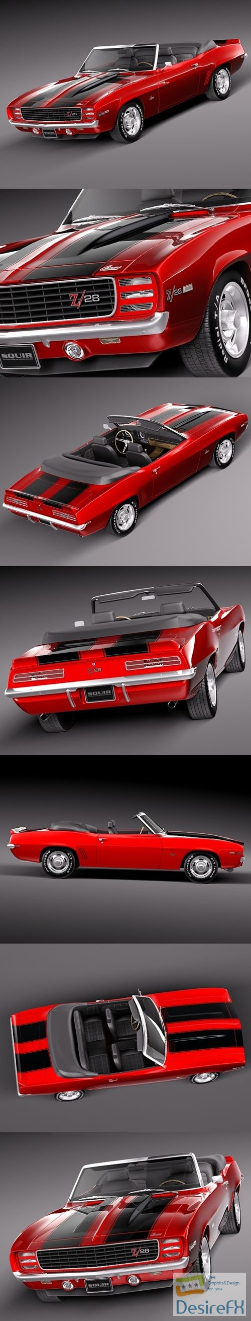 3d-models - Chevrolet Camaro 1969 Z28 cabrio 3D Model