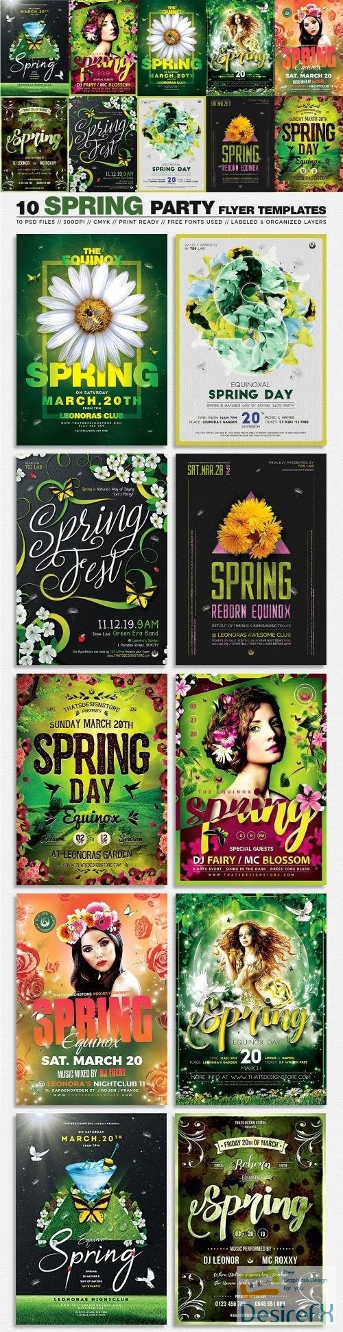 layered-psd - 10 Spring Party Flyer Bundle - 3441084