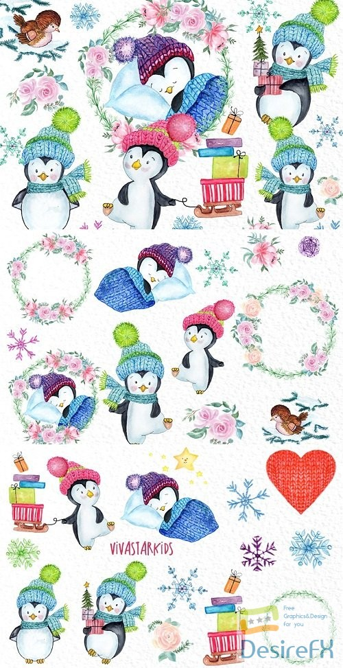 Cute Watercolour Penguins clipart - 3193458