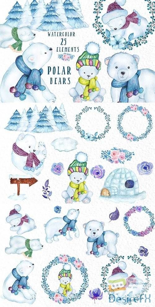 Watercolor Polar Bears clipart - 3175954