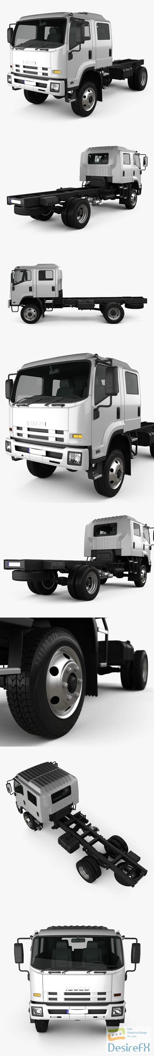 Isuzu FTS 800 Crew Cab Chassis Truck 2014 3D Model