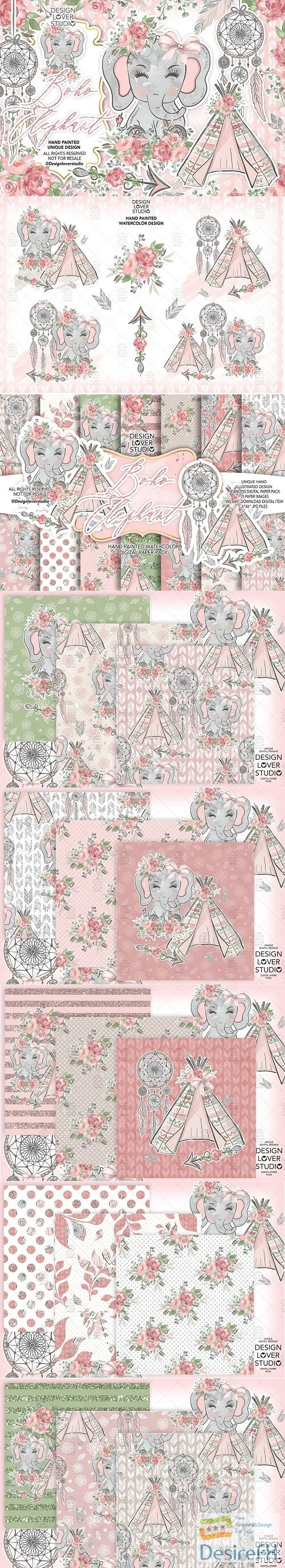 Boho Elephant Cute design + digital paper pack