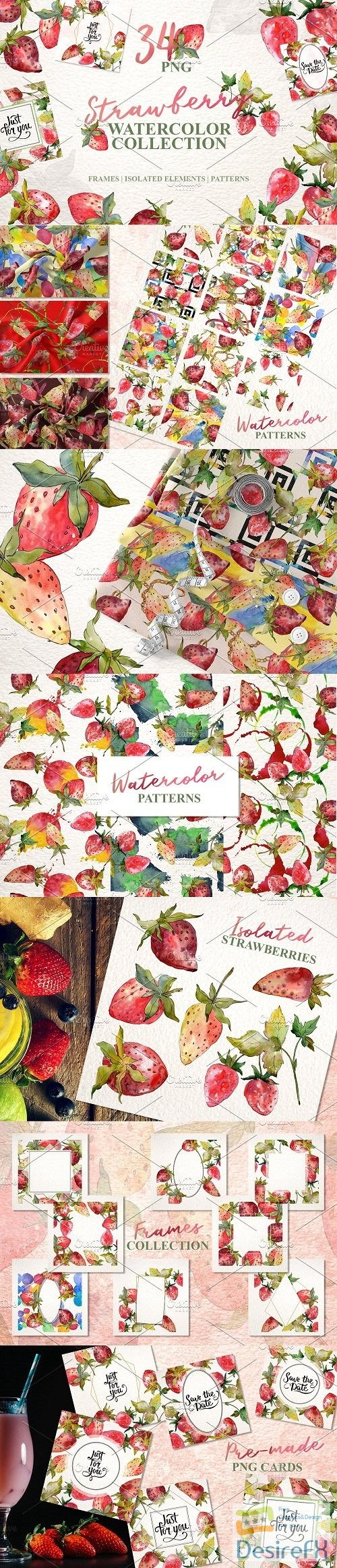 stock-images - Strawberry collection Watercolor png - 3593345