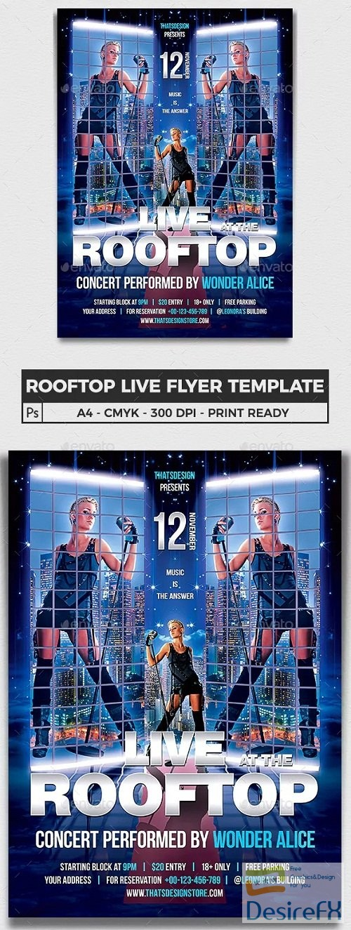 layered-psd - Graphicriver Rooftop Live Flyer Template - 6516037